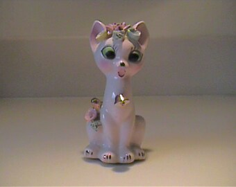 Vintage 1950's ceramic pink cat with gold bell and flowers