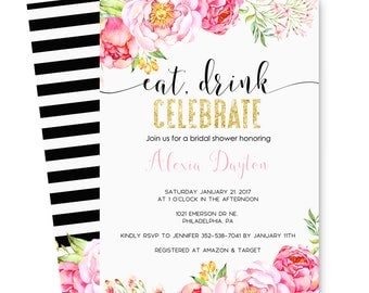 Mod Floral Bridal Shower Invitations Black Stripe and Pink, Spade Wedding,  Eat Drink Celebrate, Personalized Printable or Printed Paper Set