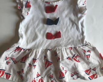 Vintage stars Fourth of July sailboat top 18-24 months