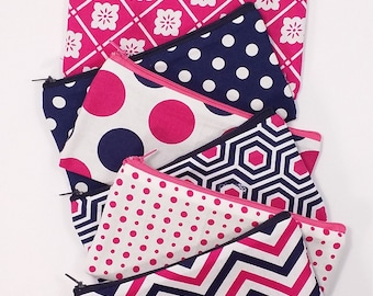 Budget Envelope System, Cash Envelope Wallet, Pouch and 5 to 15 Envelopes -Blue & Hot Pink- (It can be used with the Dave Ramsey system)