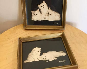 SET OF 2:  Vintage 1940s cat wall decor photograph by Bradley R. Currey