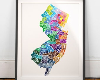 New Jersey City Typography Map Print, New Jersey wall decor, New Jersey typography map art