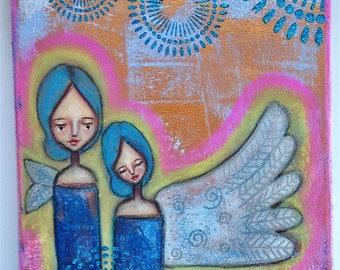 A Pink Pair of Aura Angels Art Work. Mixed media artwork. Original Art for Sale, Original Art Work, Fine Art, Original Painting, Gift Women