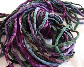 10 hand dyed silk strings approx 1.2m each  - string set 08