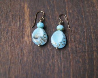 Golden Teardrops Earrings, Women creations, Premium earrings, Handmade with Love, One of a kind earrings, Path Earrings,Light Blue Earrings