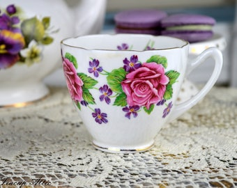 Gladstone Roses and Violets Orphan Teacup, English Bone China Replacement Tea Cup Only, ca. 1946-1961