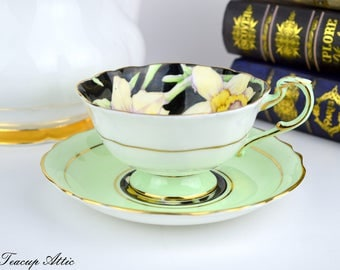 Paragon Pale Green And Black Teacup and Saucer With Daffodil Flowers, English Bone China Tea cup Set, Cabinet Teacup, ca. 1952-1960