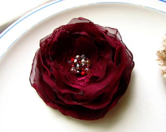 Large Red Burgundy Flower for Marsala Wedding Dress Bridal Hair Floral Pin Maroon Lace Chiffon Broach, Silver beaded Crystal, Big Hair Piece