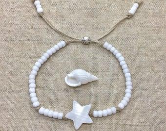 beach bracelet, shell jewelry, boho style, gift for her