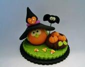 Owl - Witch Hat - Nest - Pumpkins - Polymer Clay - Halloween - Figurine