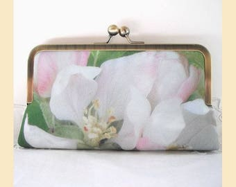 clutch bag, white floral clutch, green, pink, handmade bridal purse, personalised evening clutch, apple blossom