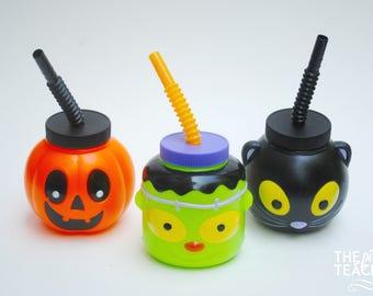 Halloween cups - Pumpkin cup - Frankenstein cup - Black cat cup - Halloween party - Halloween party cups - Halloween sippy cups