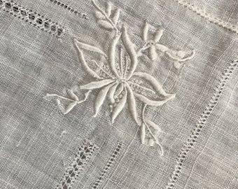 "Vintage Linen Tablecloth, 31"" sq."