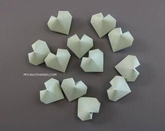 12 origami green stripe hearts || origami balloon hearts | Irish wedding hearts || bridal shower favors -green stripes