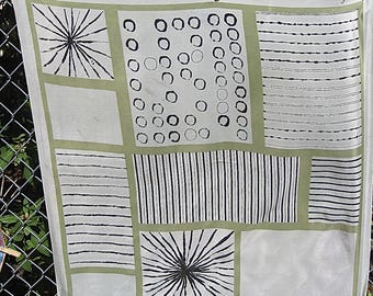 Large As Is Vera Neumann Silk Semi Sheer Mid Century Scarf Pale Beige Green w Small Burn Holes but Worthy of Artistic Preservation C Detail