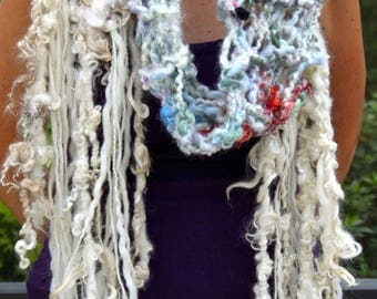 XMAS IN JULY up to 50%off New Hand Knit Multi color Scarf, Handspun Raw Wool, with lots of textures and colors