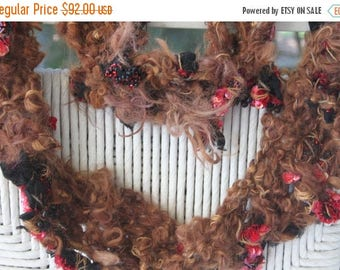 XMAS IN JULY up to 50%off Sale Hand Knit Scarf, Bulky Brown Yarn with Raw Curls, recycled gown  Black and Red Beaded and Sequined Material i