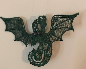 Embroidered lace dragon ornament