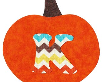 Halloween pumpkin iron on applique pick any initial  DIY