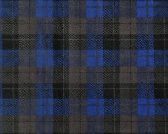 Snuggle Flannel Fabric - Skylar Blue Black Plaid - 1 Yard 16 inches