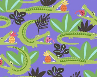 Snuggle Flannel Fabric - Hungry Alligators - Sold by the Yard