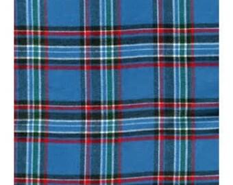 Flannel Shirting - Blue Tartan - 29 inches