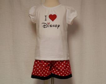red polka dot outfit,toddler outfit,t-shirt,disney inspired outfit,short set