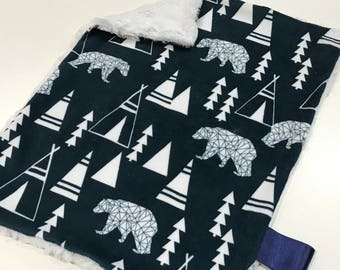 Navy Blue Geometric Woodland Bears Baby Boy MINKY Lovey Blanket, MINI Minky Baby Boy Blanket, Taggie Blanket, Woodland Baby Shower Gift