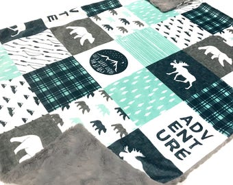 Adventure Minky Baby Blanket, Camping Bear Quilt, Woodland Deer Moose Baby Blanket, Baby Shower Gift, Navy Mint Grey Bear Baby Blanket