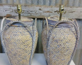 Pair Of Vintage Weaved Baskets Table Lamps / Coastal Style Pair of Rattan Lamps / Woven Bamboo Lamps