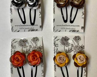 Rosa's Leather Flower on Bendy Hair Clips Hairpins