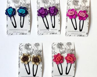 Rose Leather Flower on Bendy Hair Clips Hairpins