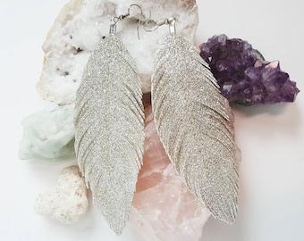 Glitter Feather Earrings, Bohemian Jewelry, Cochella, Bride, Bridal, Bridesmaids, Festival Earrings, Bohemian, Boho, Bridesmaids, 80s