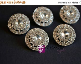 ON SALE Metal Rhinestone Buttons with Loop Crystal Clear 18mm - Flower Centers - Wedding Bridal Prom - Round Embellishments Wholesale Suppli