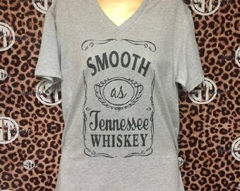Smooth as Tennessee Whiskey Soft VNeck T Shirt Adult Small-Adult 2XL