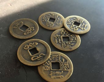 HaPpY CHiNeSe NeW YeAr - Peking Antique Brass Reproduction I Ching Chinese Coins - 23mm - Great for Beading and Altered Art (6)