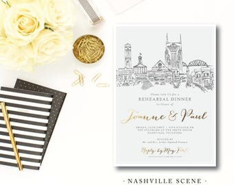 Nashville Scenes Rehearsal Dinner Invitations