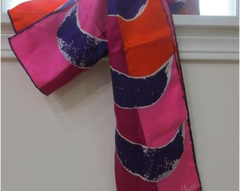 Sale, Vintage Vera Scarf, Hot Pink, Purple, Orange, Oblong Shape, Vera Neumann Signed Scarf