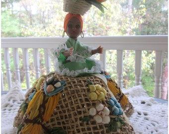 Vintage Jamaican Table Centerpiece,  Folk Art Doll, Fun Party Display Piece, Vintage Fruit, Very Festive