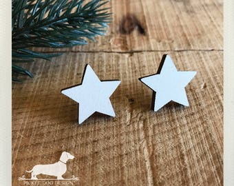 White Star. Post Earrings -- (White, Wood, Star, Vintage-Style, Geometric, Cute Birthday Gift, Star Studs, Laser Cut Jewelry, Gift Under 10)