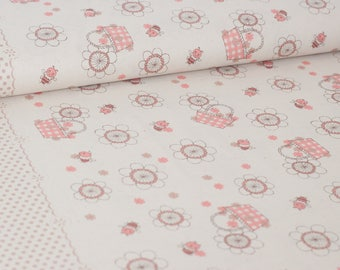 Shinzi Katoh | Japanese fabric - kawaii bees - cotton shirting - pale pink - 1/2 YD