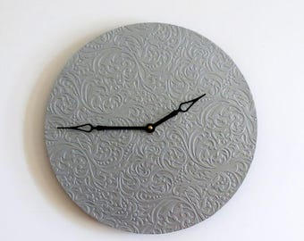 Modern Wall Clock, Silver Grey Decor, Unique  Clock, Home and Living, Unique Gift Ideas, Home Decor, Decor and Housewares