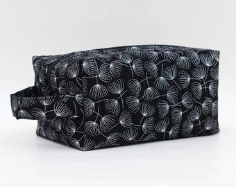 Black & Silver Wishes Quilted Cosmetic Bag with Handle, Boxy Pouch; Boxy Bag; Make-Up Bag; Travel Bag; First Aid Kit; Shave Bag