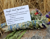 Sage, Lavender, Sweet Pea and Rose Hand Rolled Smudge Sticks