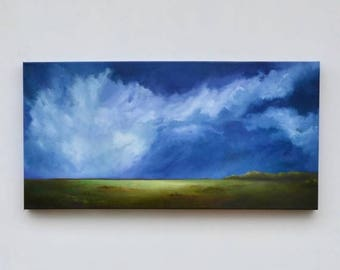 ON SALE Landscape painting, big sky painting, original oil painting, cloud landscape painting - Out of the Blue