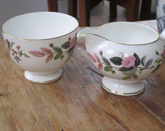 RESERVED FOR SUEYEE Wedgwood 'Hathaway rose' vintage china milk jug and sugar bowl