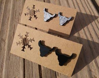 Silver Black Glitter Steer Head Earrings - Glitter Steer Head Earrings - Luxie Creations