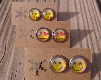 12mm Glass Emoji Stud Earrings - Yellow Emoji Stud Earrings - Stainless Steel Emoji Earrings - Emoji Earrings - Luxie Creations