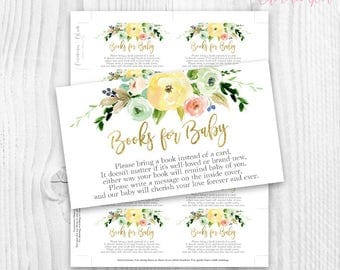 Floral baby Shower book cards, yellow watercolor floral, please bring a book floral card, rustic baby shower book cards, books for baby