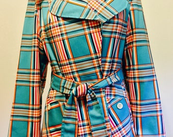 """Vintage 80s Plaid Jacket by """"Swingles of Character"""" - Approx. Size Medium"""